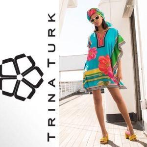 Trina Turk Theodora Silk Floral-Print Kaftan | S